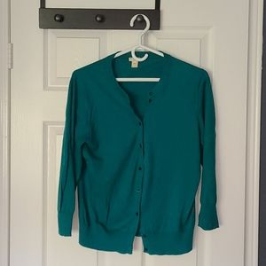 J.Crew green cardigan with cropped sleeves
